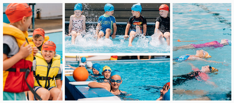 A collage of photos from swimming water safety