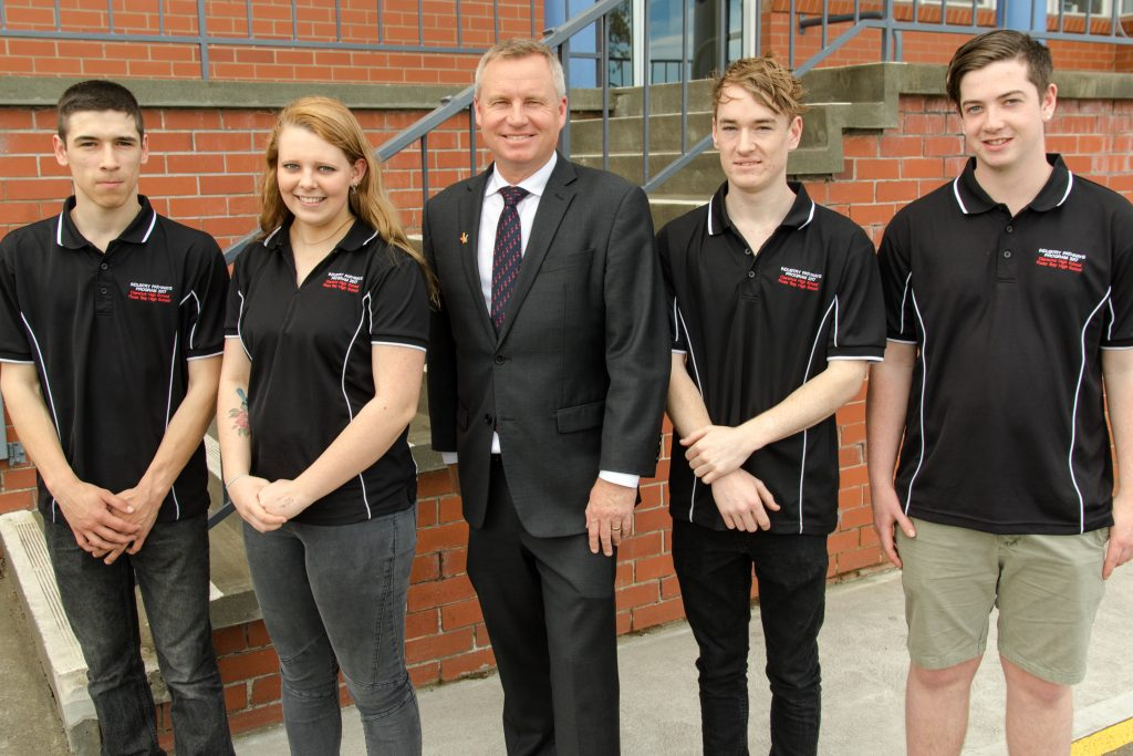 Years 11 and 12 Extension students with the Minister