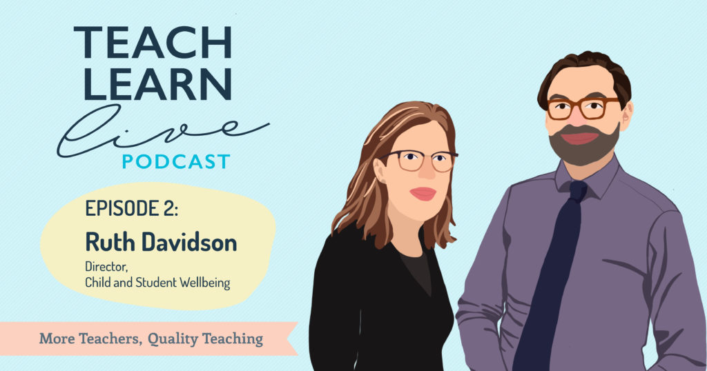 Advertising image for Teach, Learn, Live Podcast with an illustration of Tim Bullard and Ruth Davidson.