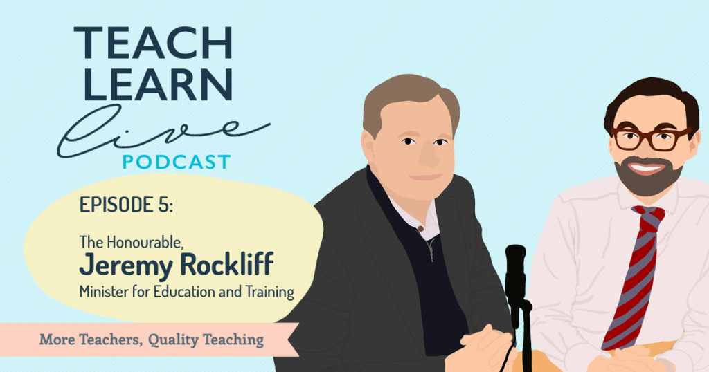 Illustration of The Hon Jeremy Rockliff and Tim Bullard for the Teach, Live, Learn podcast