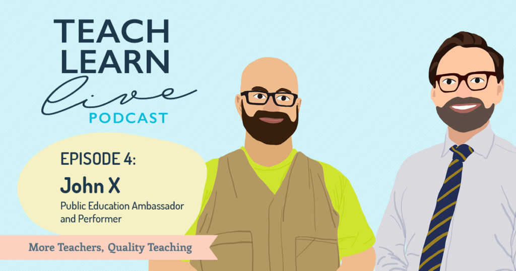 Image of John X and Tim Bullard in cartoon format to promote the Teach Learn Live Podcast.