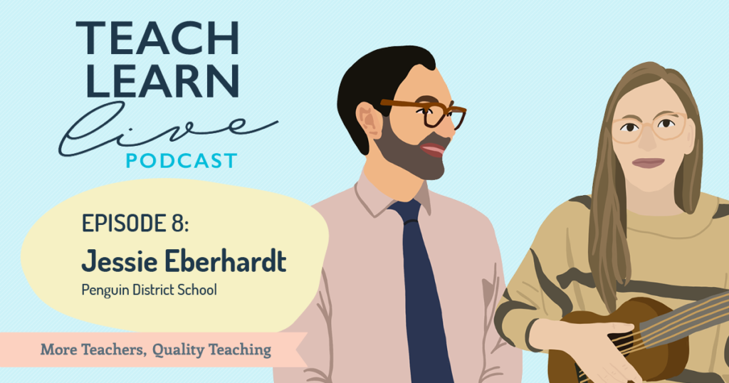 Illustration of Tim Bullard and Jessie Eberhardt from Penguin District School for the Teach, Learn, Live podcast