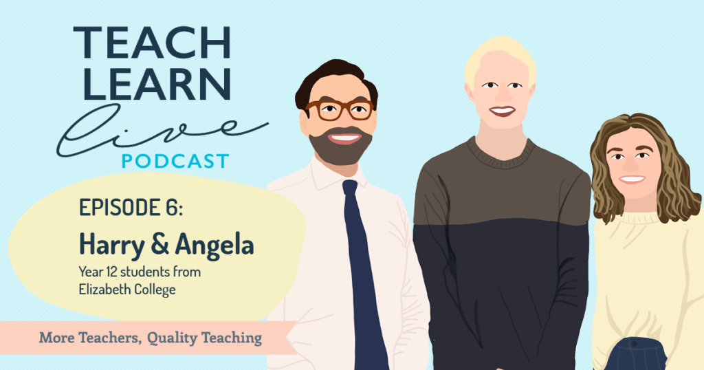 Illustration of Tim Bullard, Harry and Angela from Elizabeth College for the Teach, Learn, Live Podcast.