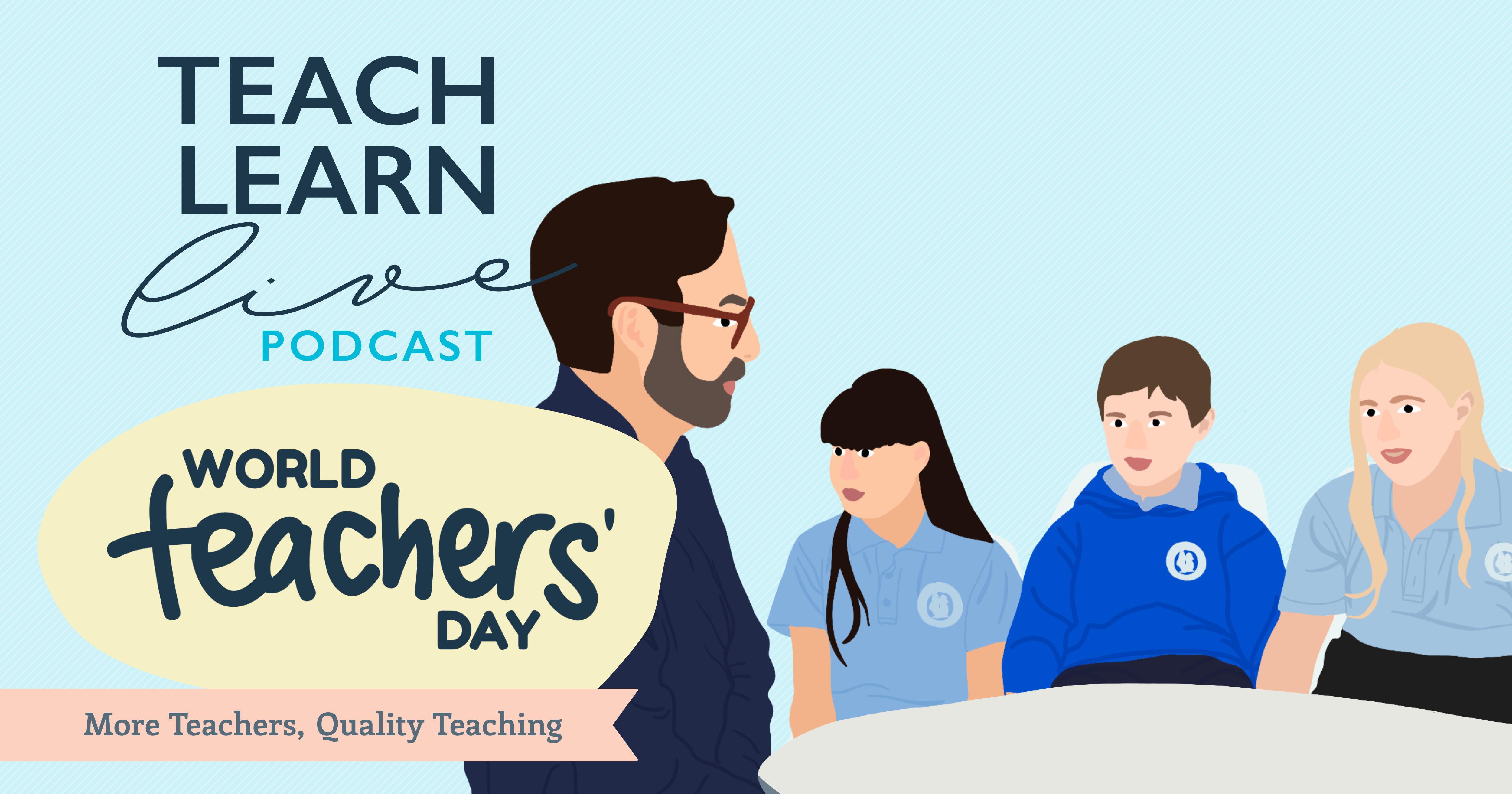 Illustration of Tim Bullard and students for the Teach Learn Live podcat
