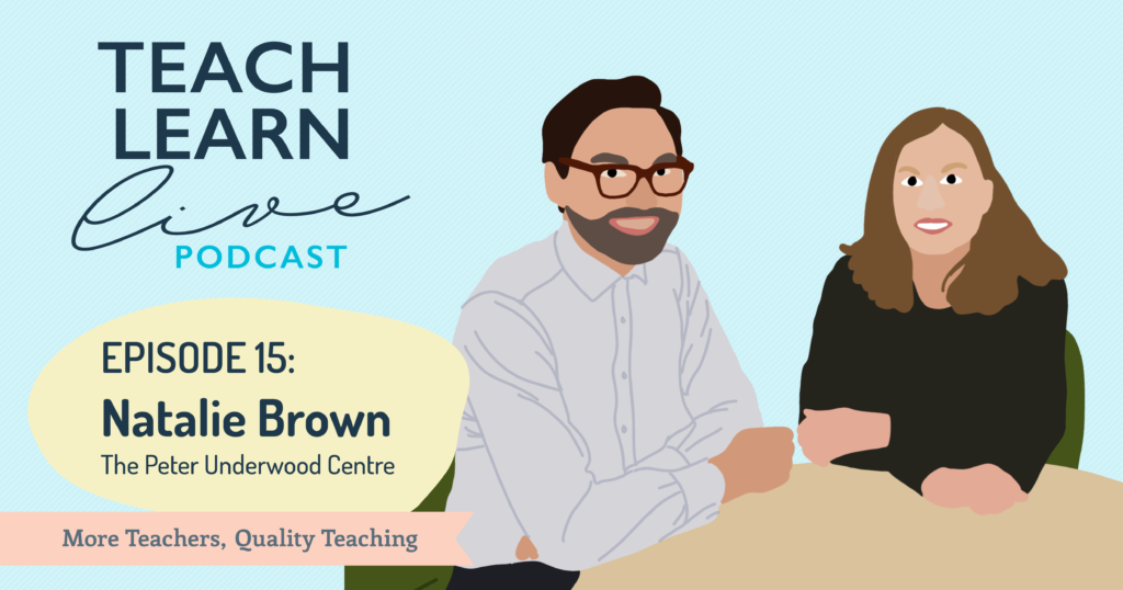 Illustration of Tim Bullard and Natalie Brown for the Teach Learn Live Podcast