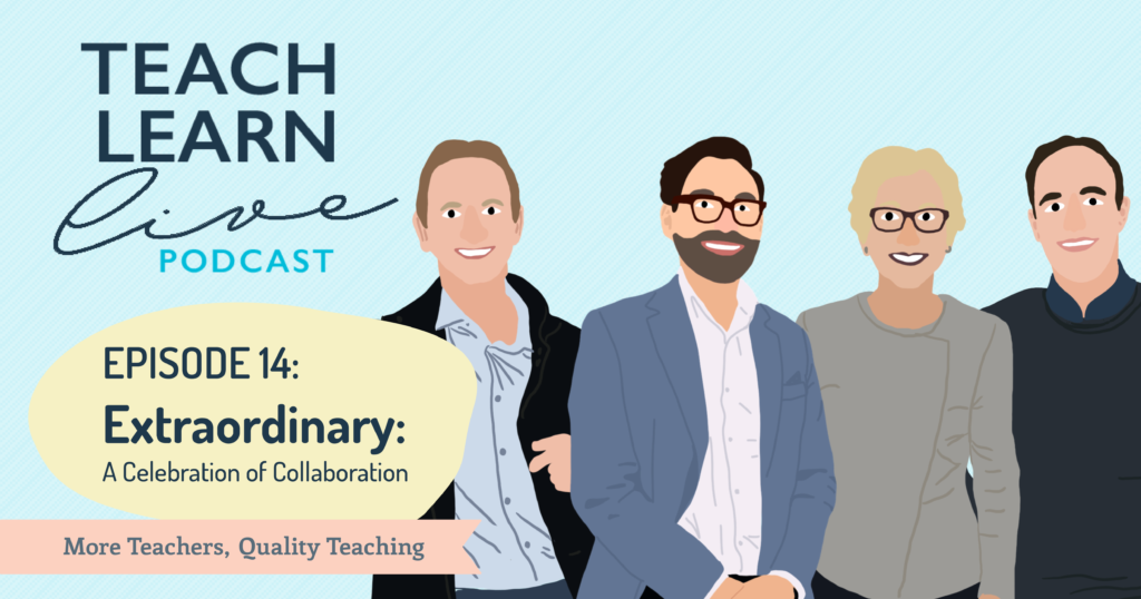 Illustration of Jamie Synnott, Tim Bullard, Gay Cumming and Brent Armitstead for the Teach Learn Live podcast