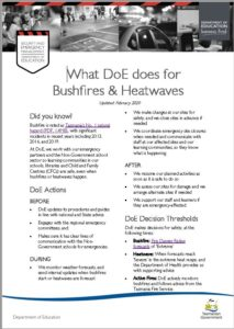 Bushfire and Heatwave Arrangements Infosheet Icon