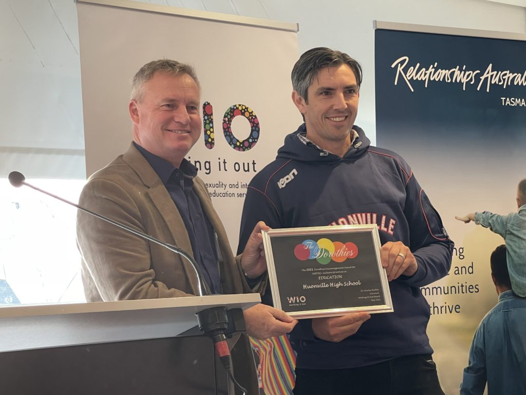 Photo of Jeremy Rockliff and Huonville School HPE teacher receiving Dorothies Award in 2021