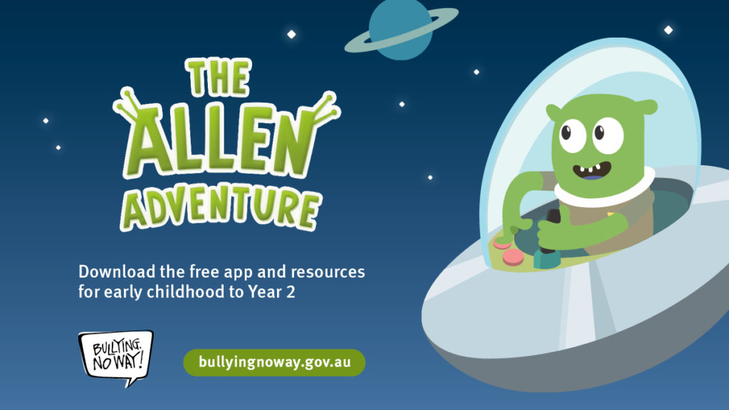 Illustration of an alien in a space ship for The Allen Adventure app and resources provided by bullyingnoway.gov.au