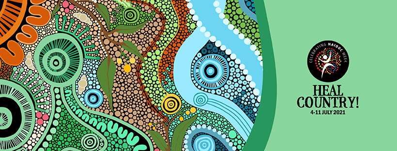 Official NAIDOC Week logo with theme 'Heal Country' 4 - 11 July 2021